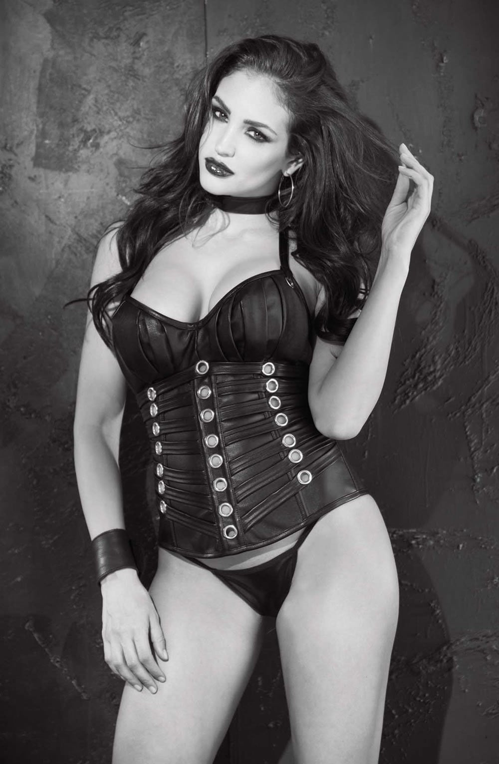 382f06456 Shirley of Hollywood Faux Leather Push Up Corset (Black) - Corsets - Shirley  of