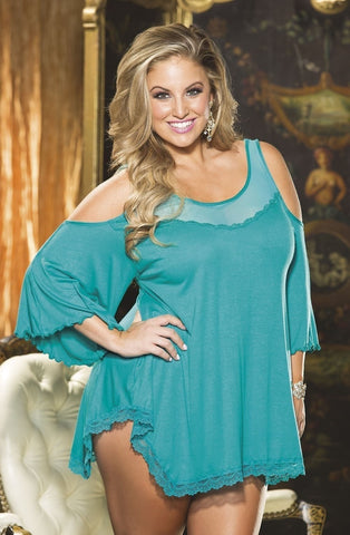 Shirley of Hollywood Plus Size Rayon Jersey Knit Sleepshirt (Teal) - Plus Size Night Dresses - Shirley of Hollywood - Charm and Lace Boutique