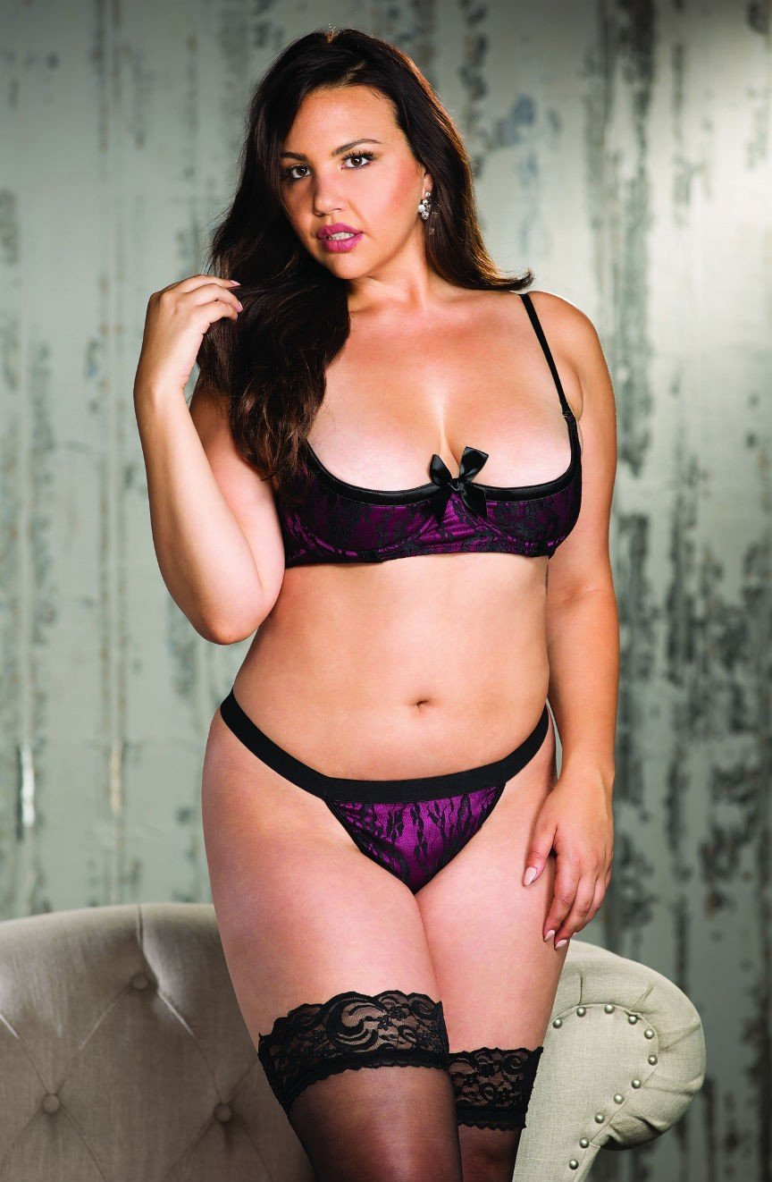 b12d15a261f Shirley of Hollywood Plus Size Shelf Cup Bra Set (Berry) - Plus Size Bras