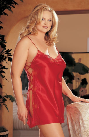 Shirley of Hollywood X20015 Plus Size Chemise (Red) - Plus Size Chemises - Shirley of Hollywood - Charm and Lace Boutique