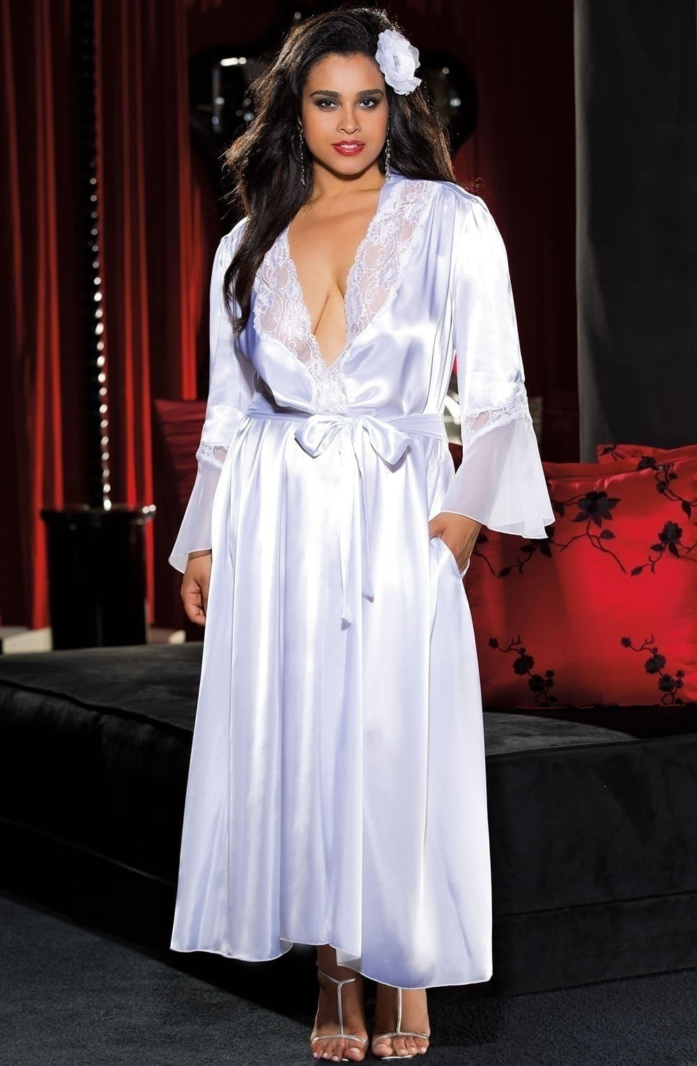 Shirley of Hollywood X20559 Plus Size Long Robe (White) at Charm and ...