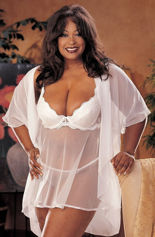 Shirley of Hollywood X3175 Plus Size Babydoll (White) - Plus Size Babydolls - Shirley of Hollywood - Charm and Lace Boutique
