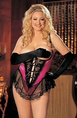 Shirley of Hollywood X3900 Plus Size Satin Open Bust Teddy (Hot Pink) - Plus Size Teddys - Shirley of Hollywood - Charm and Lace Boutique