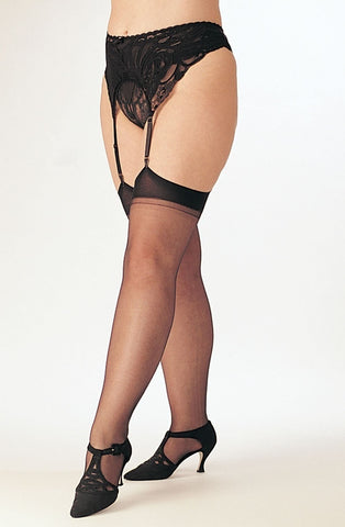 Shirley of Hollywood X5075 Plus Size Sheer Stockings (Black) - Plus Size Stockings - Shirley of Hollywood - Charm and Lace Boutique