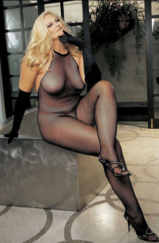 Shirley of Hollywood X90001 Plus Size Bodystocking (Black) - Plus Size Bodystockings - Shirley of Hollywood - Charm and Lace Boutique