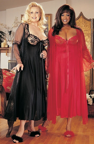 Shirley of Hollywood XX3489 Plus Size Peignoir Set (Black) - Plus Size Peignoirs - Shirley of Hollywood - Charm and Lace Boutique
