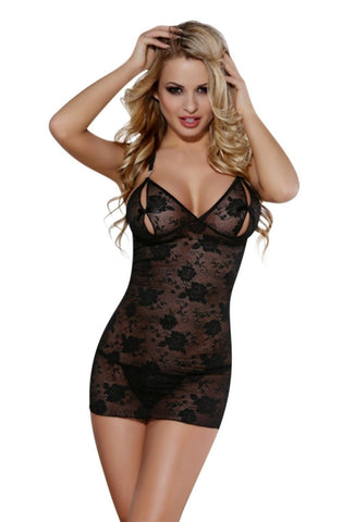 YesX Chemise Dress YX682 (Black) - Chemises - YesX - Charm and Lace Boutique