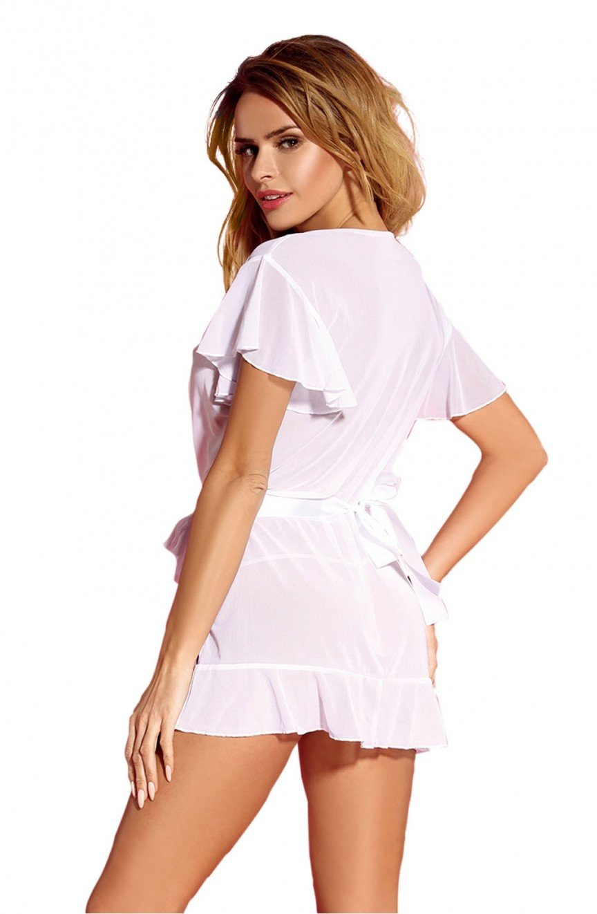 YesX YX162 Dressing Gown (White) at Charm and Lace Boutique