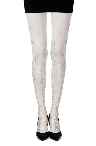 "Zohara ""Kaleidoscope"" Tights (Cream) - Tights - Zohara - Charm and Lace Boutique"