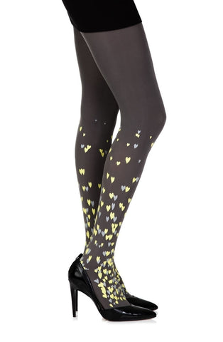 "Zohara ""Queen Of Hearts"" Tights (Grey) - Tights - Zohara - Charm and Lace Boutique"