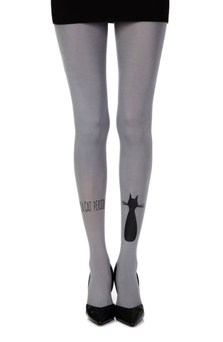 "Zohara ""Smelly Cat"" Tights (Grey) - Tights - Zohara - Charm and Lace Boutique"