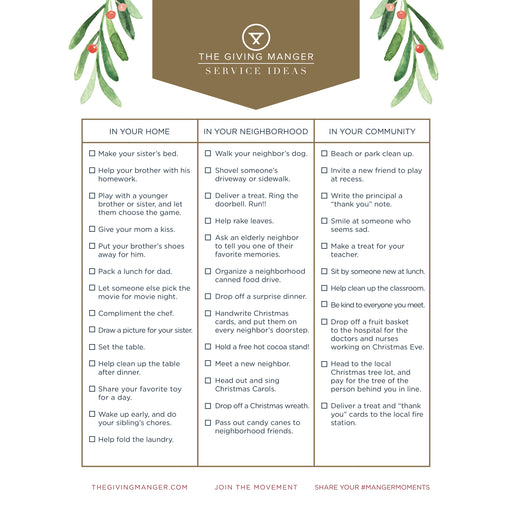 Service Ideas - Free Printables