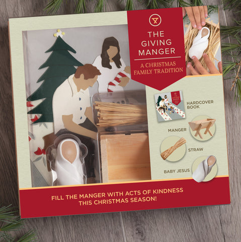 The Giving Manger Christmas Activity set for families teaching kindness, inclusion and love