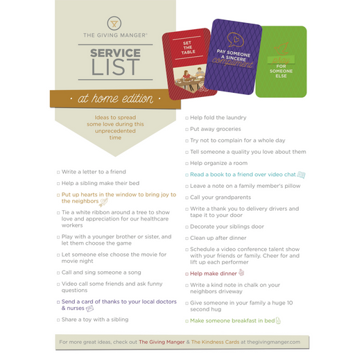The Giving List - At Home Edition - Free Printable