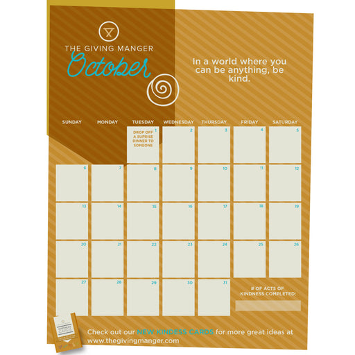 A Kindness Calendar you can use to inspire your family to spread kindness every day in October