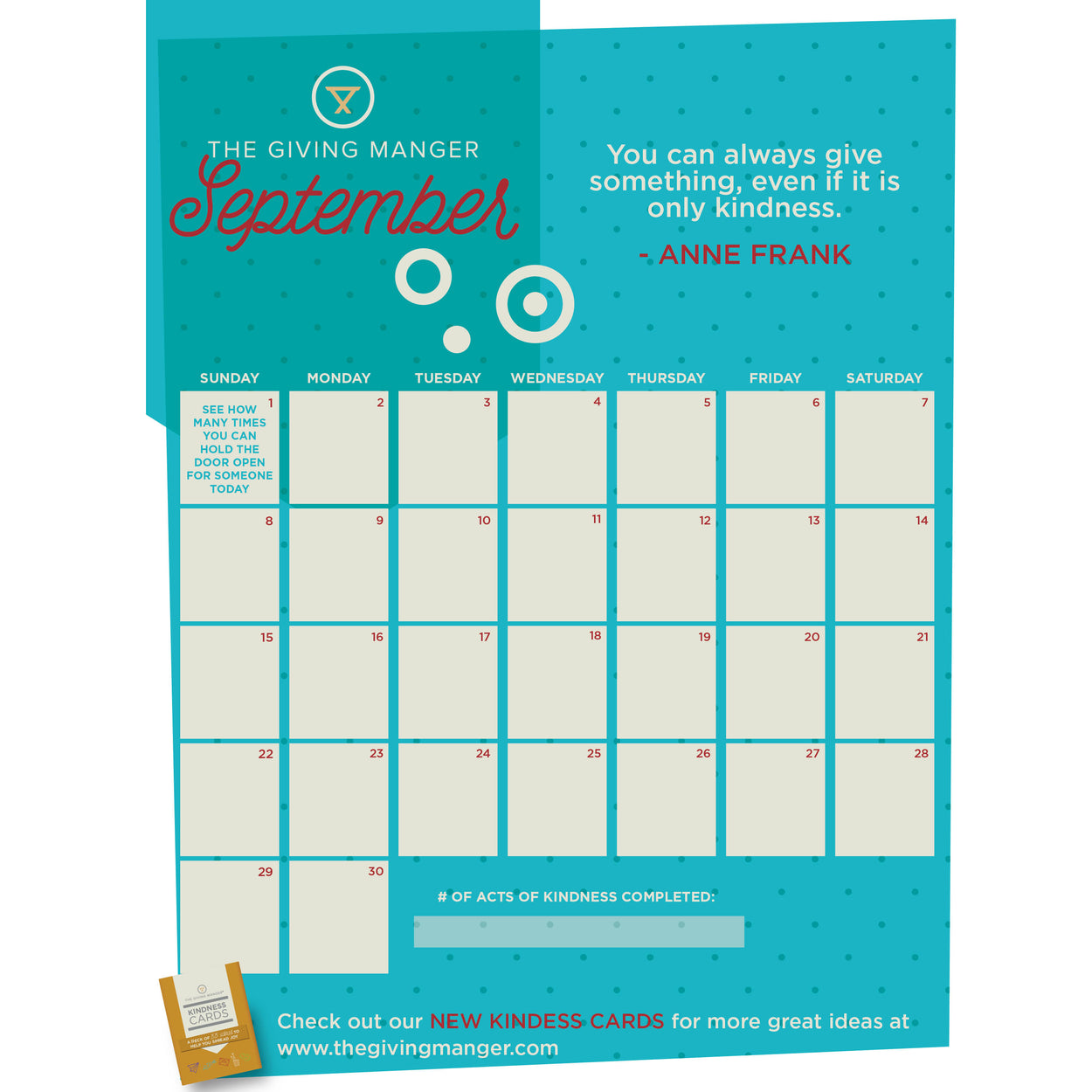 A Kindness Calendar you can use to inspire your family to spread kindness every day in September