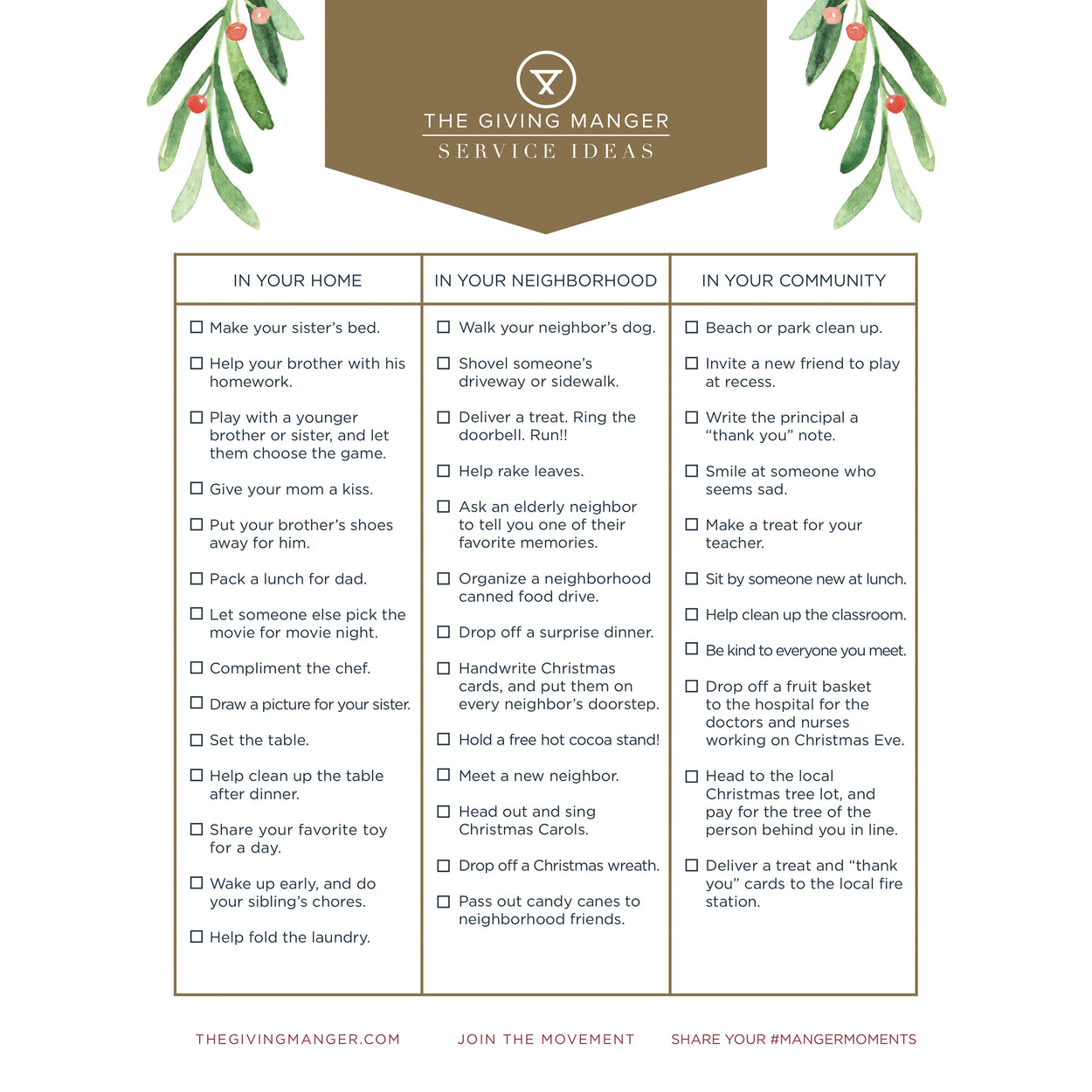 Service Ideas for Home, Neighborhood and Community - Free Printable