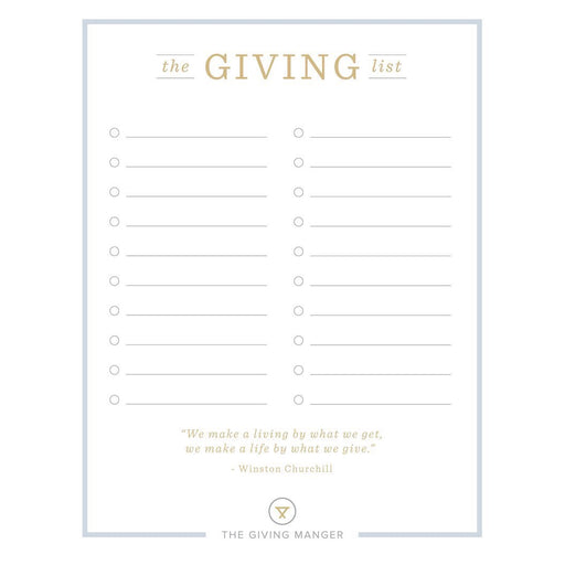 The Giving List - Create a List of Ideas for Your Family - Free Printable