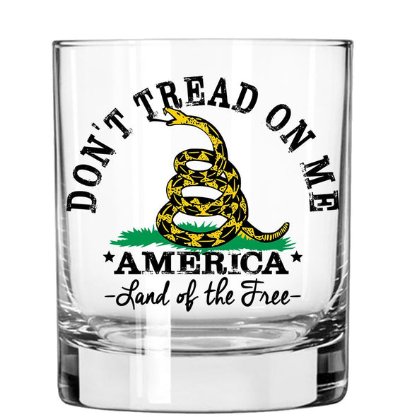 Don't Tread On Me - America Land of the Free - Whiskey Glass