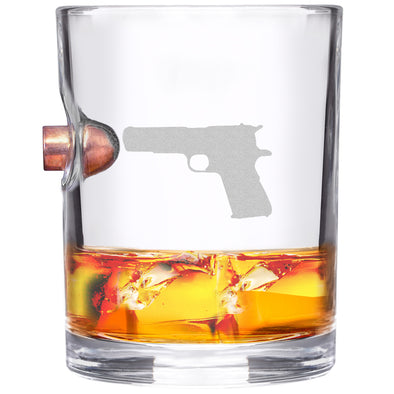 .45 Caliber Bullet Whiskey Glass - Guns