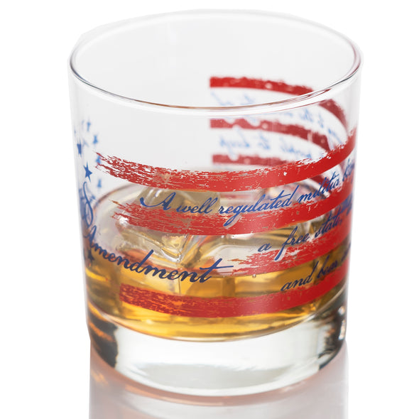 2nd Amendment Flag 360 Wrap Two Pack Whiskey Glasses