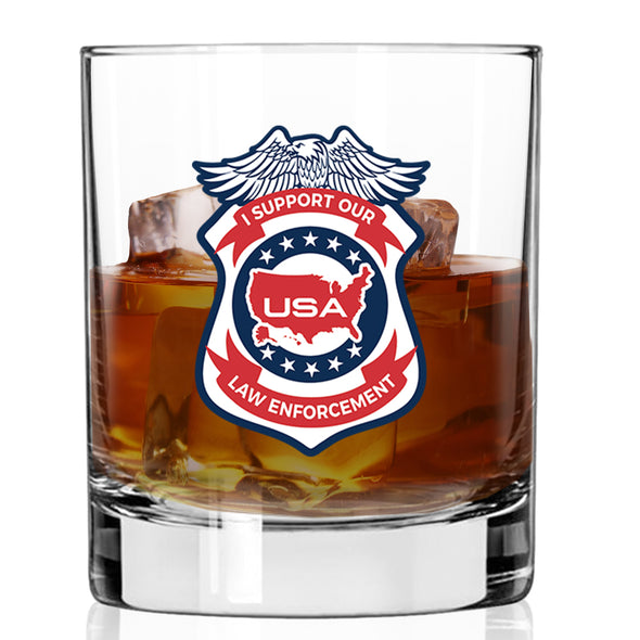 Whiskey Glass - Law Enforcement Support Badge