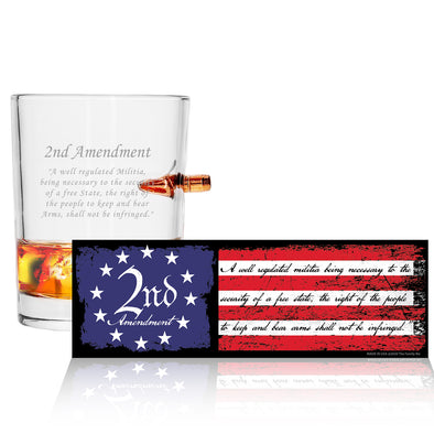 .308 Bullet Whiskey Glass w/ Sticker - 2nd Amendment