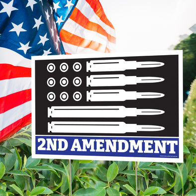 "2nd Amendment Bullet Flag 12"" x 18"" Two Pack Yard Signs"