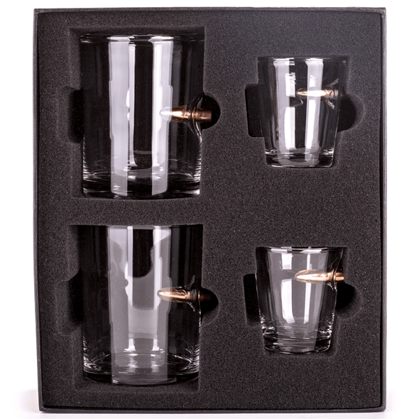 .308 Bullet Shot Glass and Whiskey Glass Gift Set