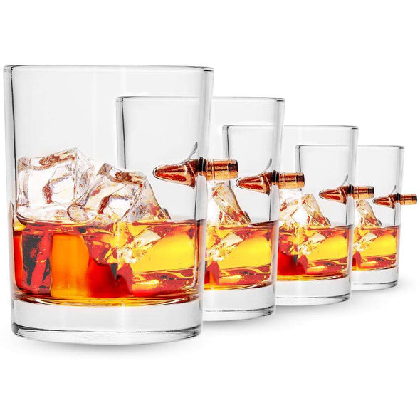 4 pack - Bullet Whiskey Glasses + Coasters