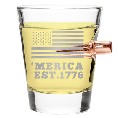 .308 REAL BULLET Handmade SHOT GLASS – 'MERICA EST. 1776