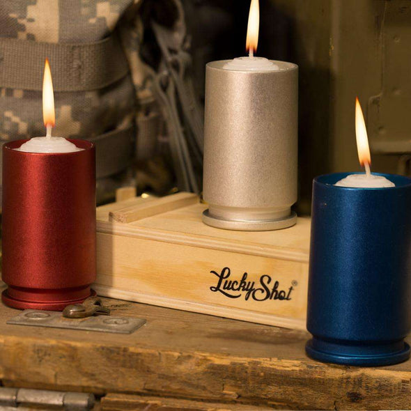 30MM GAU-8 Red, Silver and Blue Candle Votives and Candles (Set of 3)