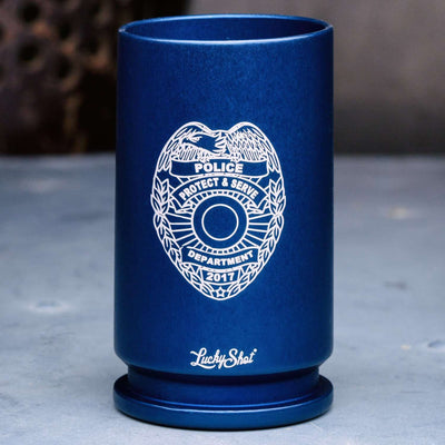 30MM REAL BULLET Police Emblem Shot Glass - Blue