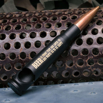 "50 Caliber Bullet Bottle Opener in Matte Black - ""BEER IS PROOF..."""