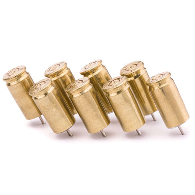 9MM Bullet Push Pins (Pack of 8) -  Available in Brass or Nickel