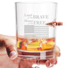 .308 Bullet Whiskey Glass - Land of The Brave, Home of The Free
