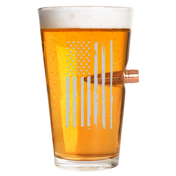 .50 Caliber Bullet Pint Glass - Weathered Flag