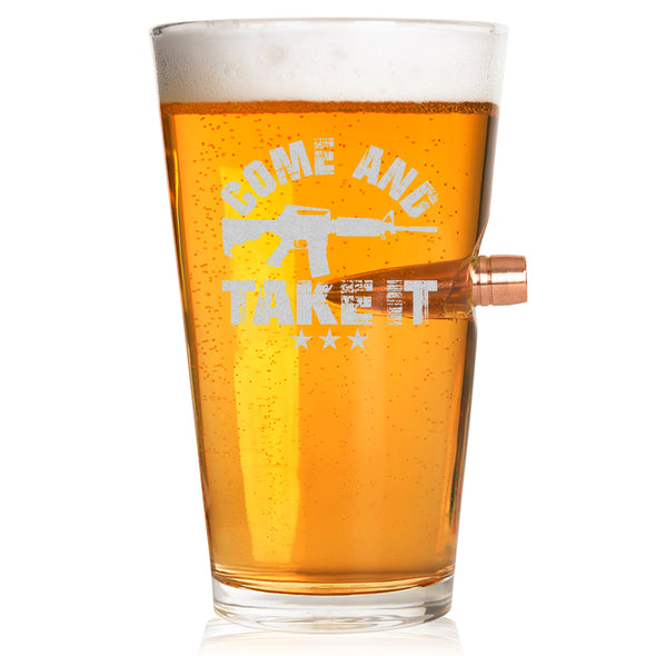 .50 Caliber Bullet Pint Glass - Come and Take It Gun