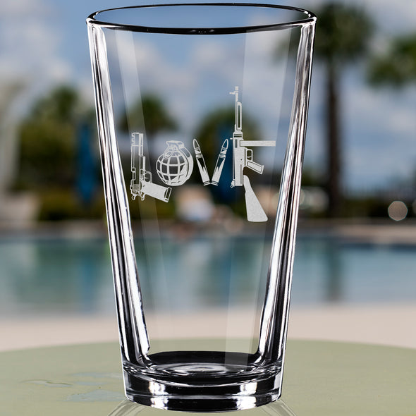 Pint Glass - Love Spelled with Guns