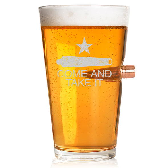 .50 Caliber Bullet Pint Glass - Come and Take It Cannon