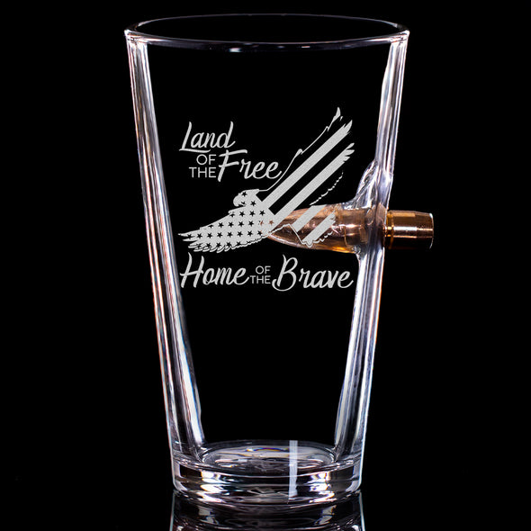 .50 Caliber Bullet Pint Glass - Eagle Land of the Free Home of the Brave