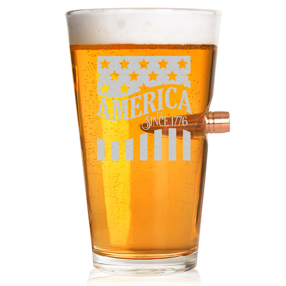 .50 Caliber Bullet Pint Glass - America Since 1776