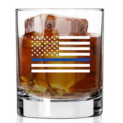 Whiskey Glass - Thin Blue Line Flag