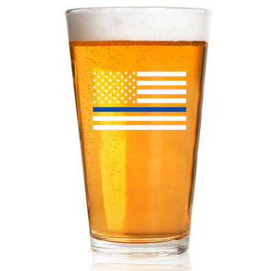 Pint Glass - Thin Blue Line Flag