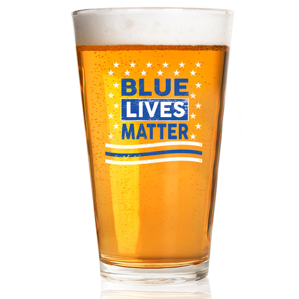 Pint Glass - Blue Lives Matter Stars