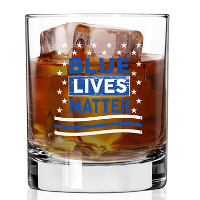 Whiskey Glass - Blue Lives Matter Stars