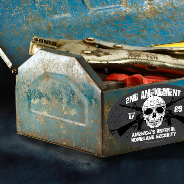 America's Original Homeland Security - Skull and Guns 2nd Amendment 6x4 Oval Magnet