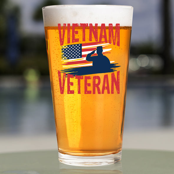 Pint Glass - Vietnam Veteran Flag