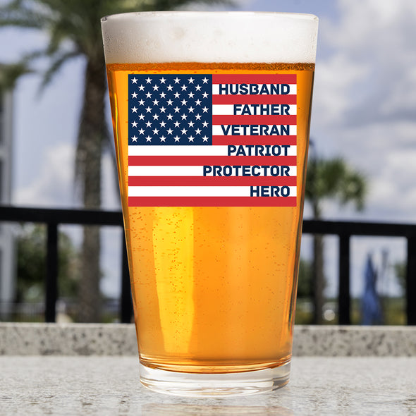 Pint Glass - Protector Flag Red White & Blue