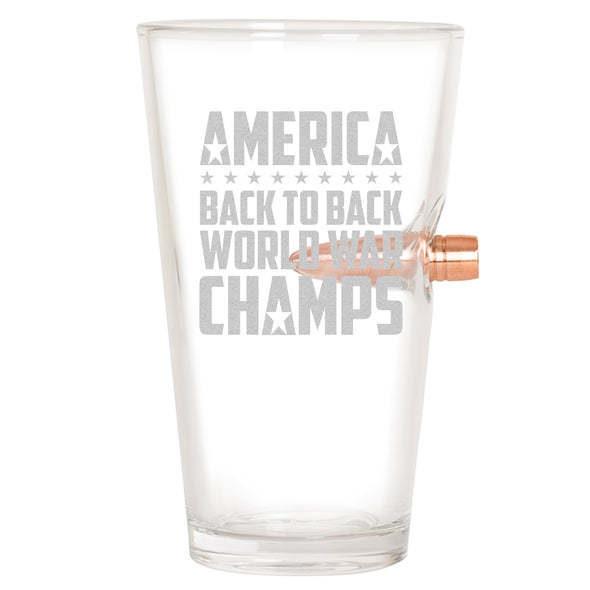 .50 Caliber Bullet Pint Glass - Back to Back World War Champs